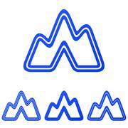 Blue line expedition logo design set - stock illustration