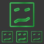 Green line fear logo design set - stock illustration