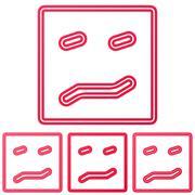 Crimson line confusion logo design set - stock illustration