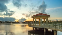 Palm Beach Gardens Downtown at Gazebo Sunset Lake Stock Footage