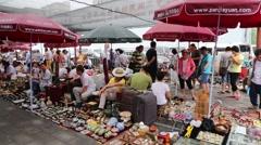 Panjiayuan Flea Market in Beijing - one of best antiques market in China Stock Footage