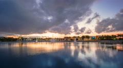 Palm Beach Gardens PBG Downtown Timelapse Clouds Lake Stock Footage