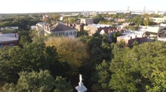 Aerial Shot Rising above a Town Square Park in Savannah, GA Stock Footage