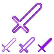 Purple line sword logo design set Stock Illustration