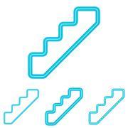 Cyan line stair logo design set - stock illustration