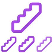Purple line stair logo design set - stock illustration