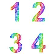 Rainbow sketch font set - numbers 1, 2, 3, 4 Stock Illustration