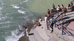 Indian people in Ganges River of Devprayag , India Stock Footage