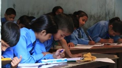 Indian girls and boys in a local school during the lesson Stock Footage