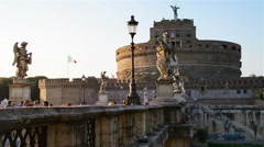 Sant Angelo Castel in Rome Stock Footage
