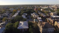 Aerial Shot of Houses in Historic District of Savannah, GA Looking Back Toward t Stock Footage
