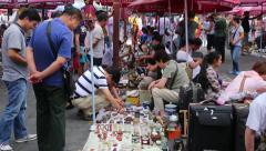 Panjiayuan Flea Market in Beijing - one of best antiques market in China - stock footage