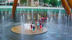 Tourists at center of fountain of wealth in Singapore Stock Footage
