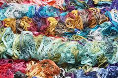 Many different colors in one place crocheted colored scarf Stock Photos