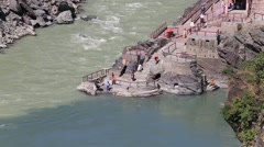 Devprayag confluence River is known as Ganges. Uttarakhand, India. - stock footage