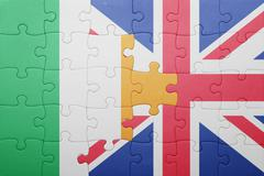Puzzle with the national flag of great britain and ireland Stock Photos