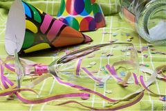 Closeup view of a after a party mess - stock photo