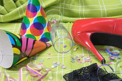 After party mess with intimate clothing - stock photo
