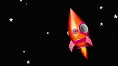 Stock Video Footage of Cartoon Space Rocket Moving in The Space