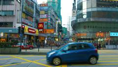 Busy intersection in a major commercial district of Hong Kong China. Stock Footage