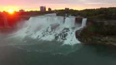 4k cinematic epic dramatic aerial of niagara falls at sunrise Stock Footage