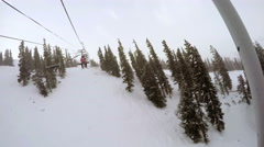 Movement on the lift to the ski slope Alpine skiing at Loveland Basin. Stock Footage