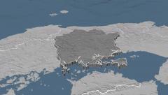 Okayama - Japan prefecture extruded. Bumps Stock Footage