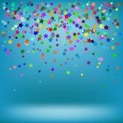Set of Colorful Stars on Azure Background - stock illustration