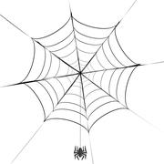 Stock Illustration of Polygonal Grey Spider and Her Cobweb