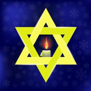 Yellow Star of David and Burning Candles Stock Illustration