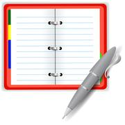 Stock Illustration of Open Notebook and Grey Pen