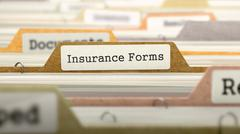 Insurance Forms on Business Folder in Catalog - stock illustration