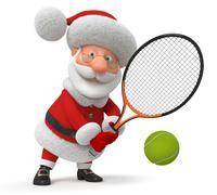 3d Santa Claus plays tennis - stock illustration
