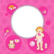 Baby shower card - stock illustration