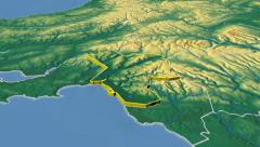 Neath Port Talbot - county of Wales (UK) extruded. Bumps shaded Stock Footage