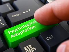 Finger Presses Green Keyboard Button Psychological Adaptation - stock illustration