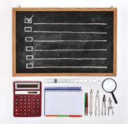 chalk board with drawing checklist - stock illustration