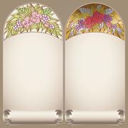 Vector vintage art nouveau floral rose frame on scroll - stock illustration
