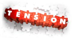 Tension - White Word on Red Puzzles - stock illustration