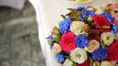 Wedding bouquet of fresh flowers.Festive bouquet of fresh flowers.Wedding bridal Stock Footage