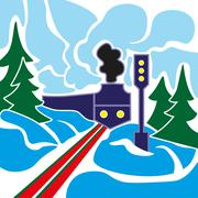 Old train and winter landscape - stock illustration