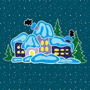 House in winter forest Stock Illustration