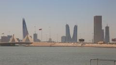 Skyline of Manama, Bahrain - stock footage