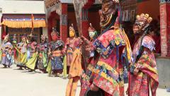 Tibetan lamas in mystical mask perform ritual Tsam dance. Ladakh, India Stock Footage