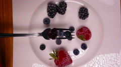 Delicious Dessert Assortment of Fresh Berries 4K Fruits Stock Footage