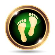 Stock Illustration of Foot print icon. Internet button on white background..
