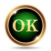 OK icon. Internet button on white background.. - stock illustration