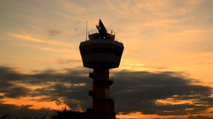 Air traffic control on sunset Stock Footage