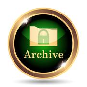 Stock Illustration of Archive icon. Internet button on white background..