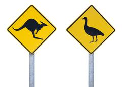 Cape Barren goose and kangaroo road signs - stock photo